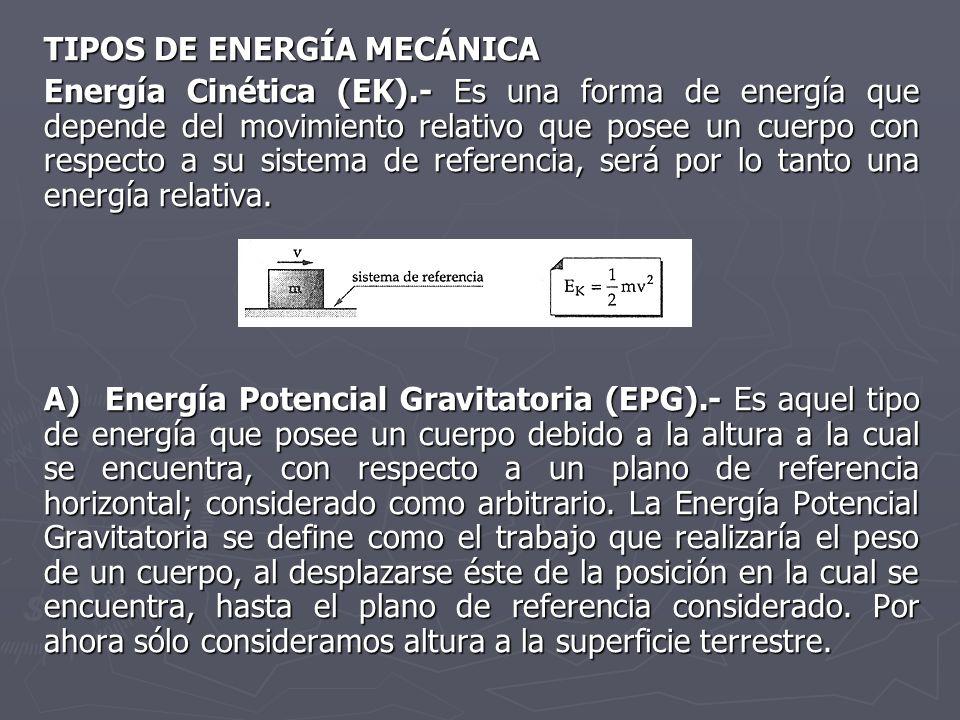 TIPOS DE ENERGÍA MECÁNICA Energía Cinética (EK).- Es una forma de energía que depende del movimiento relativo que posee un cuerpo con respecto a su si