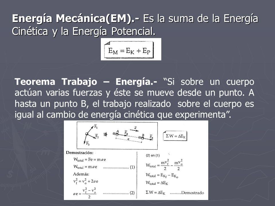 Energía Mecánica(EM).- Es la suma de la Energía Cinética y la Energía Potencial. Teorema Trabajo – Energía.- Si sobre un cuerpo actúan varias fuerzas