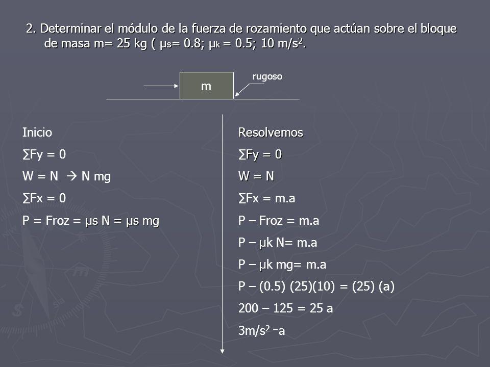 2. Determinar el módulo de la fuerza de rozamiento que actúan sobre el bloque de masa m= 25 kg ( µ s = 0.8; µ k = 0.5; 10 m/s 2. m rugoso Inicio Fy =