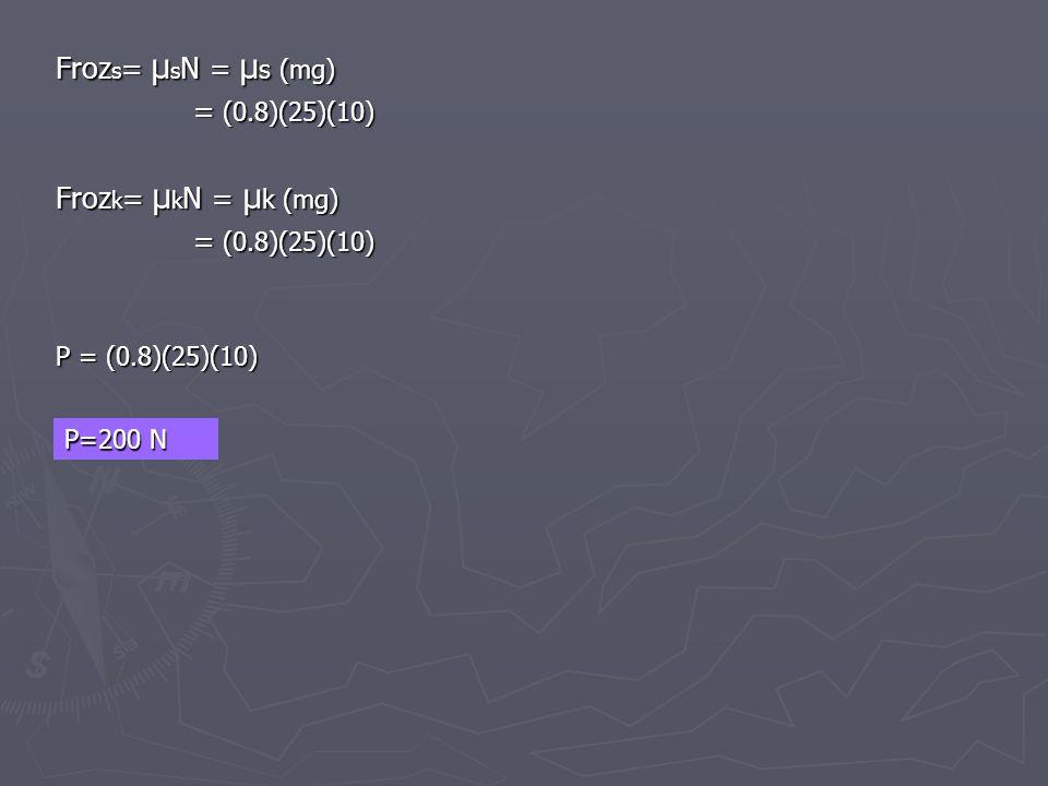 Froz s = µ s N = µ s (mg) = (0.8)(25)(10) = (0.8)(25)(10) Froz k = µ k N = µ k (mg) = (0.8)(25)(10) = (0.8)(25)(10) P = (0.8)(25)(10) P=200 N