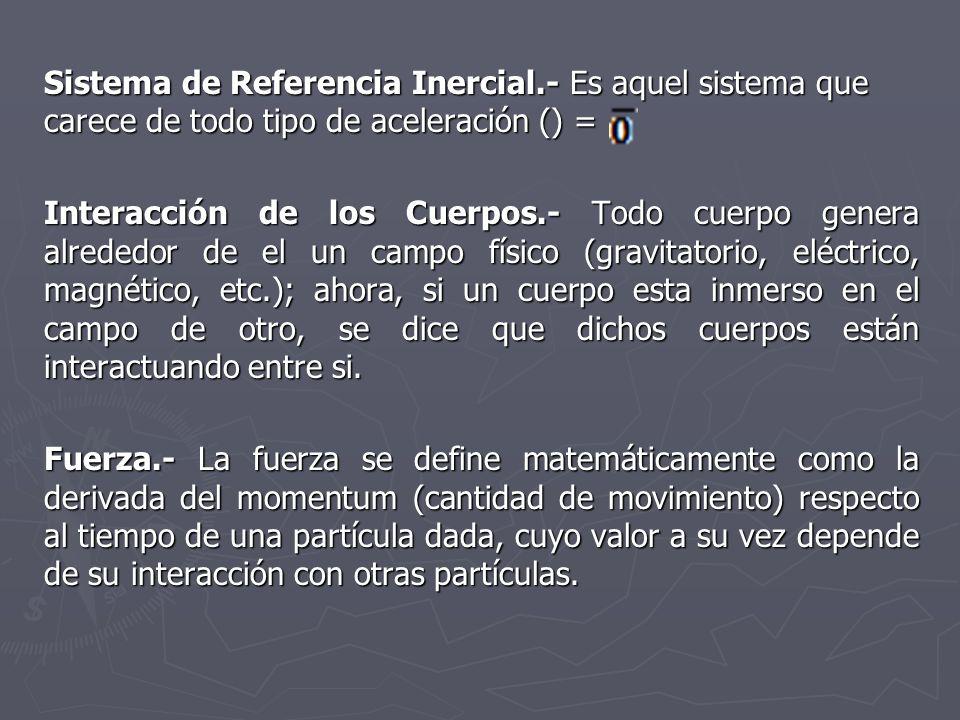 Sistema de Referencia Inercial.- Es aquel sistema que carece de todo tipo de aceleración () = Interacción de los Cuerpos.- Todo cuerpo genera alrededo