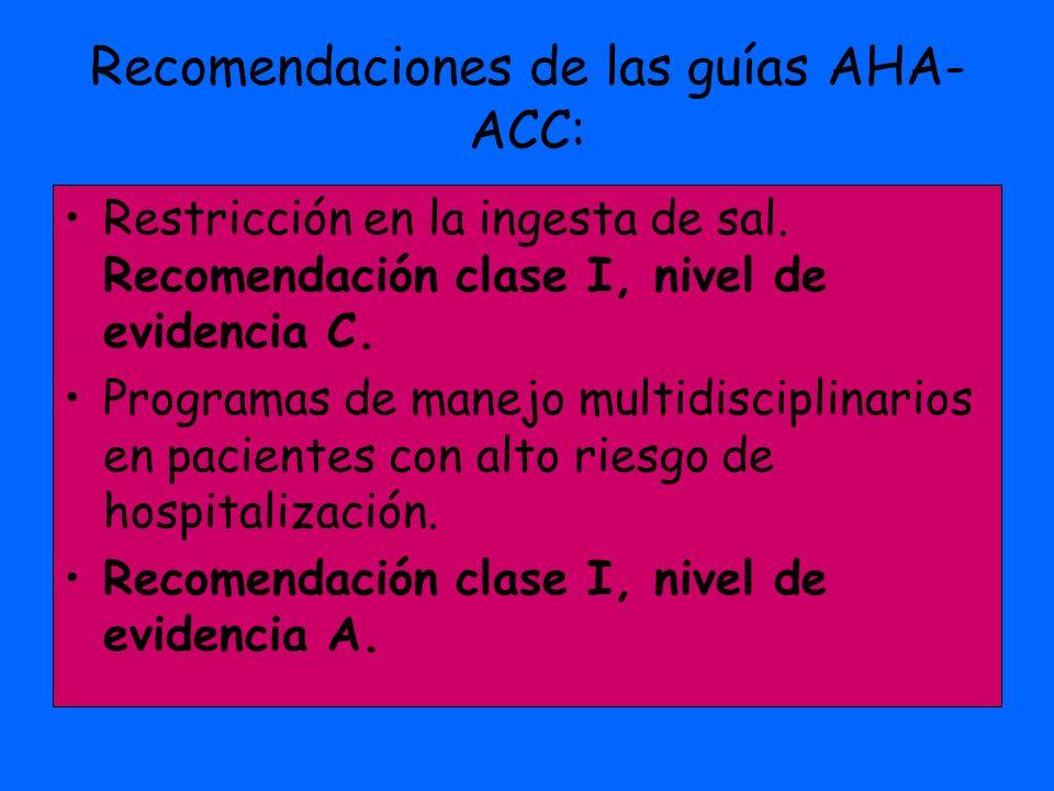 Recomendaciones de las guías AHA- ACC: Restricción en la ingesta de sal. Recomendación clase I, nivel de evidencia C. Programas de manejo multidiscipl