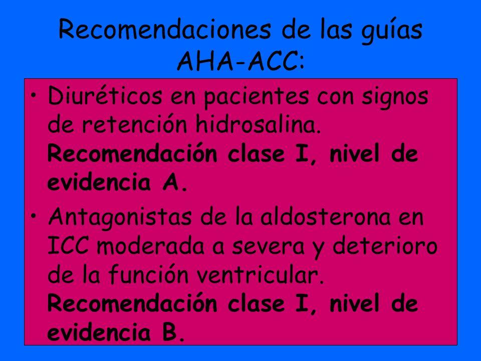 Recomendaciones de las guías AHA-ACC: Diuréticos en pacientes con signos de retención hidrosalina. Recomendación clase I, nivel de evidencia A. Antago