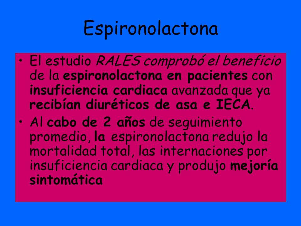 Espironolactona El estudio RALES comprobó el beneficio de la espironolactona en pacientes con insuficiencia cardiaca avanzada que ya recibían diurétic