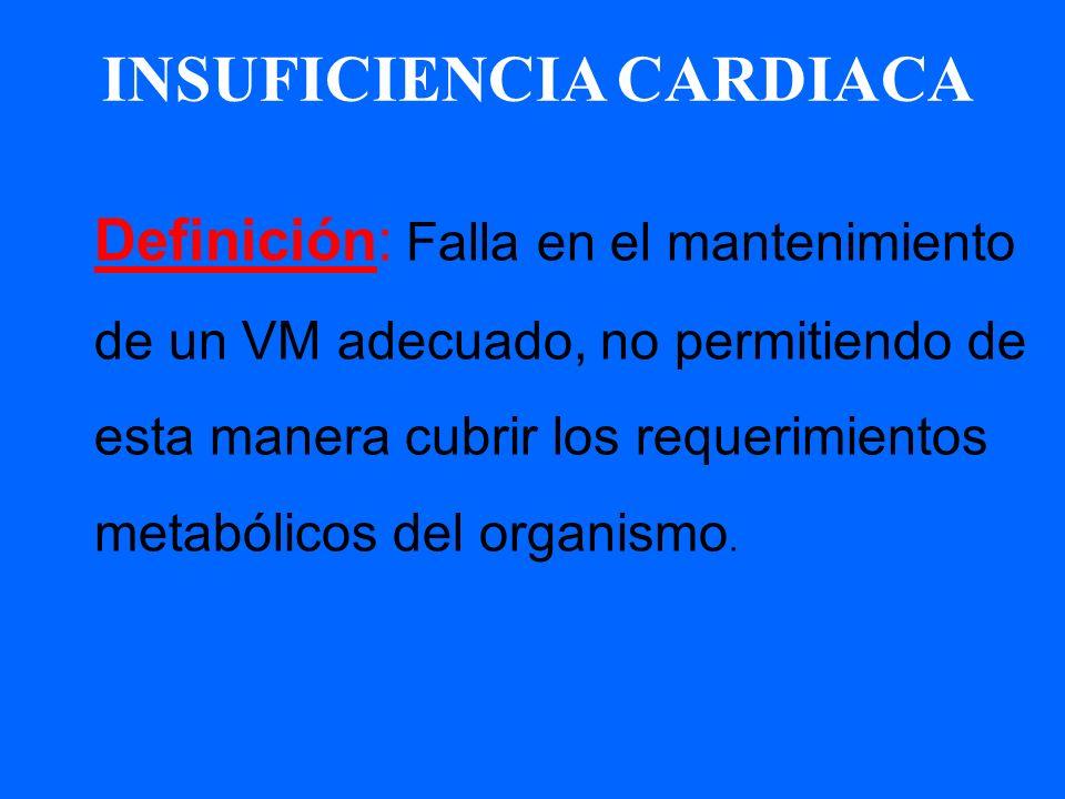Definición: Falla en el mantenimiento de un VM adecuado, no permitiendo de esta manera cubrir los requerimientos metabólicos del organismo. INSUFICIEN