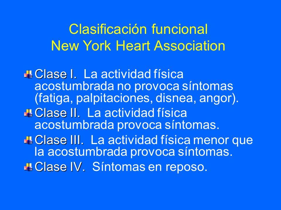 Clasificación funcional New York Heart Association Clase I. Clase I. La actividad física acostumbrada no provoca síntomas (fatiga, palpitaciones, disn