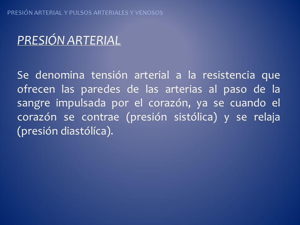 PRESIÓN ARTERIAL Y PULSOS ARTERIALES Y VENOSOS PRESIÓN ARTERIAL Se denomina tensión arterial a la resistencia que ofrecen las paredes de las arterias