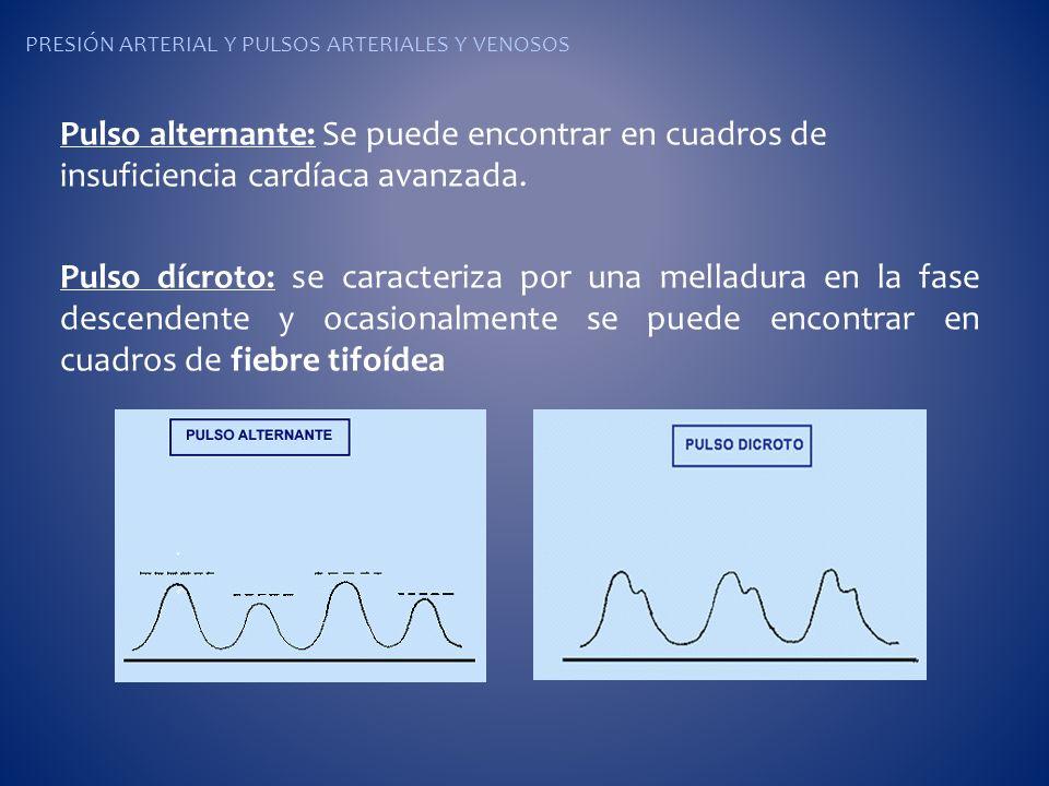 PRESIÓN ARTERIAL Y PULSOS ARTERIALES Y VENOSOS Pulso alternante: Se puede encontrar en cuadros de insuficiencia cardíaca avanzada. Pulso dícroto: se c