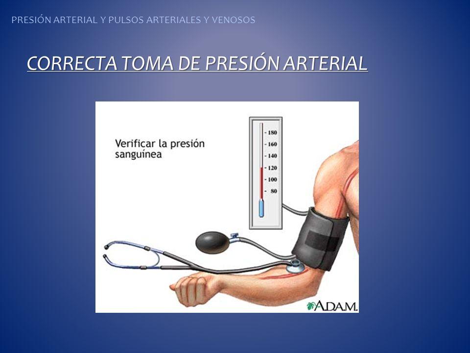 PRESIÓN ARTERIAL Y PULSOS ARTERIALES Y VENOSOS CORRECTA TOMA DE PRESIÓN ARTERIAL