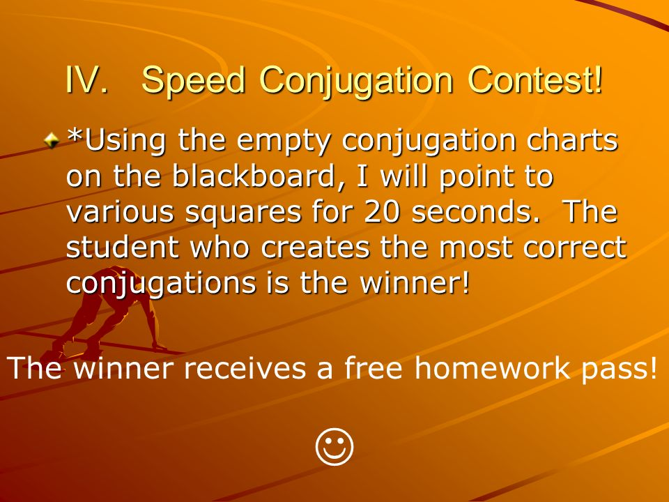IV. Speed Conjugation Contest.