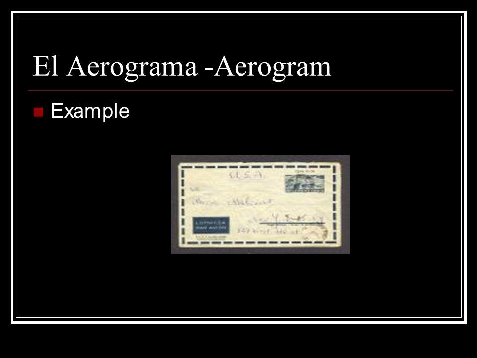 El Aerograma -Aerogram Example