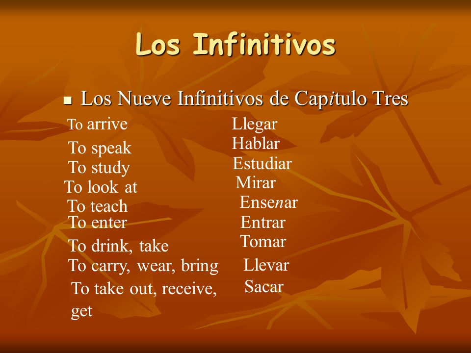 Los Infinitivos Los Nueve Infinitivos de Capitulo Tres Los Nueve Infinitivos de Capitulo Tres To arriveLlegar To speak Hablar To study Estudiar To look at Mirar To teach Ensenar To enterEntrar To drink, take Tomar To carry, wear, bring Llevar To take out, receive, get Sacar