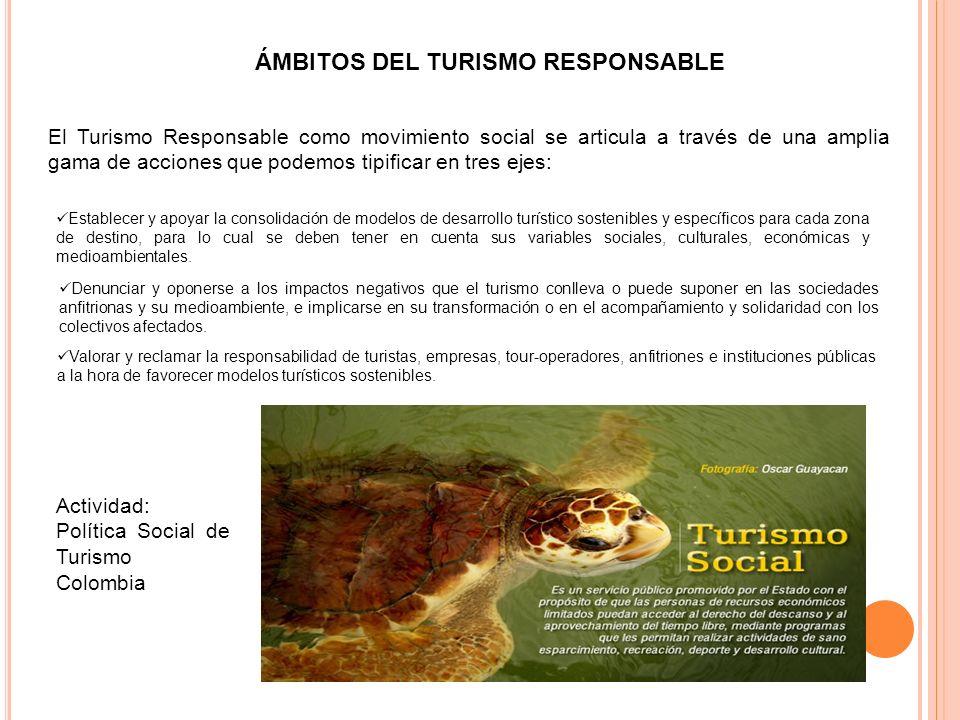 ÁMBITOS DEL TURISMO RESPONSABLE El Turismo Responsable como movimiento social se articula a través de una amplia gama de acciones que podemos tipifica