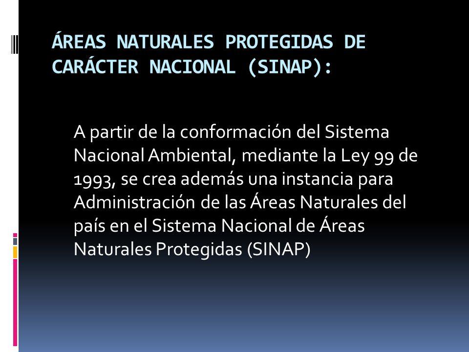 ÁREAS NATURALES PROTEGIDAS DE CARÁCTER NACIONAL (SINAP): A partir de la conformación del Sistema Nacional Ambiental, mediante la Ley 99 de 1993, se cr