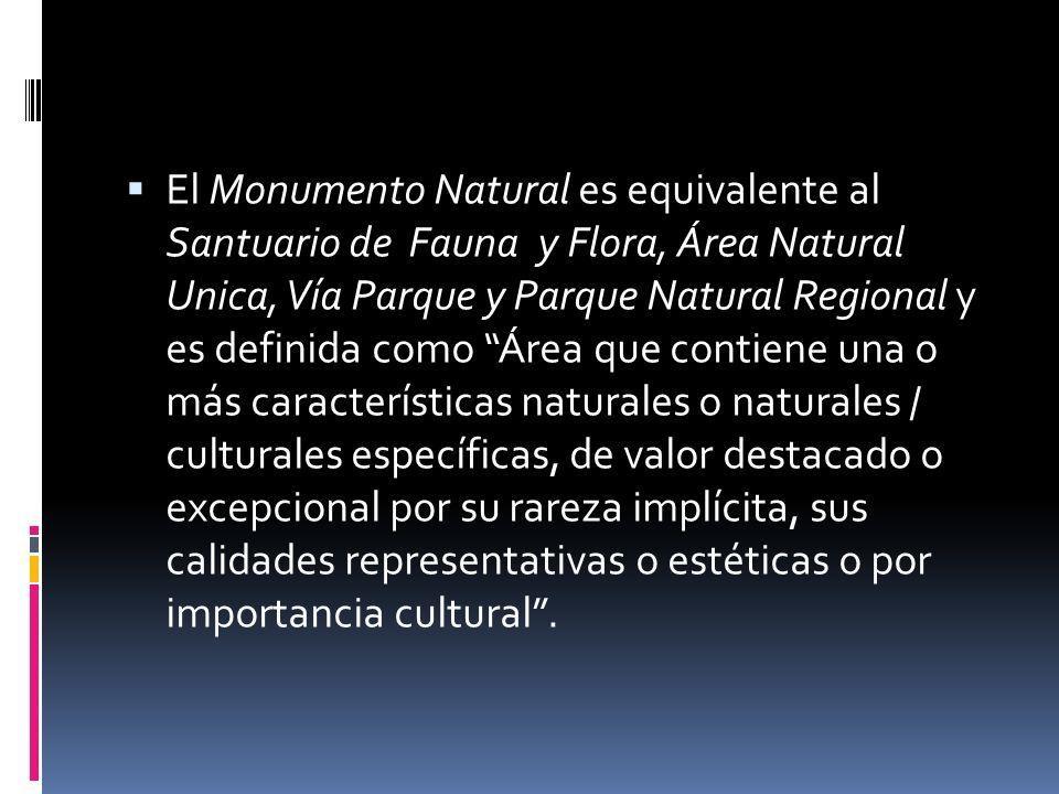 El Monumento Natural es equivalente al Santuario de Fauna y Flora, Área Natural Unica, Vía Parque y Parque Natural Regional y es definida como Área qu