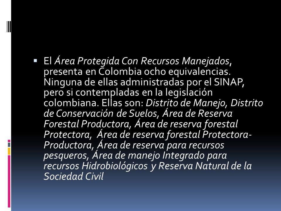 El Área Protegida Con Recursos Manejados, presenta en Colombia ocho equivalencias. Ninguna de ellas administradas por el SINAP, pero si contempladas e
