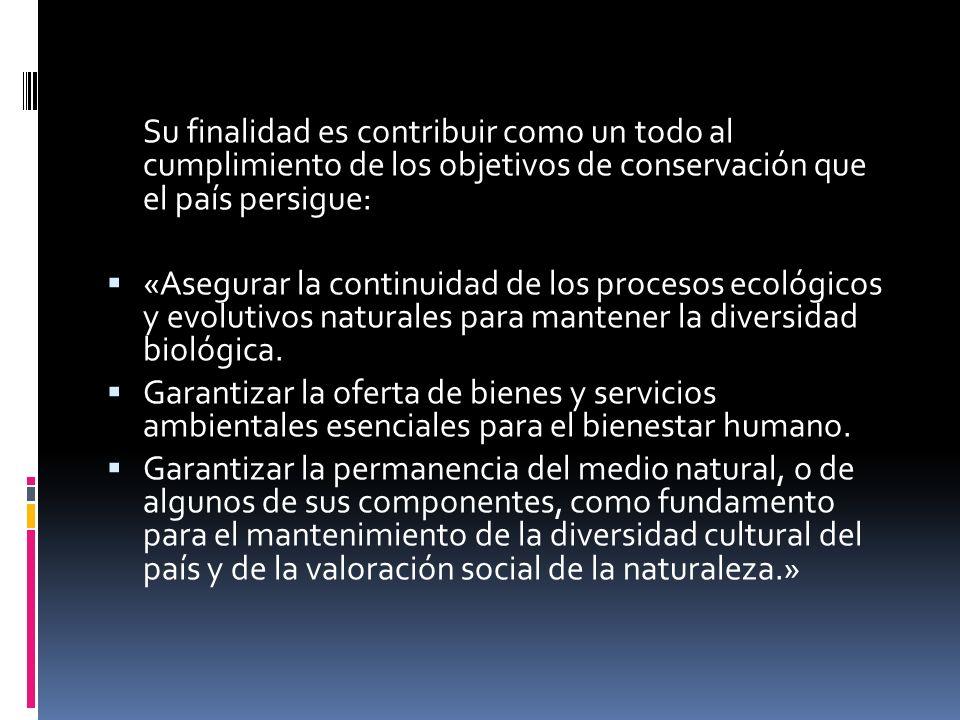 Su finalidad es contribuir como un todo al cumplimiento de los objetivos de conservación que el país persigue: «Asegurar la continuidad de los proceso