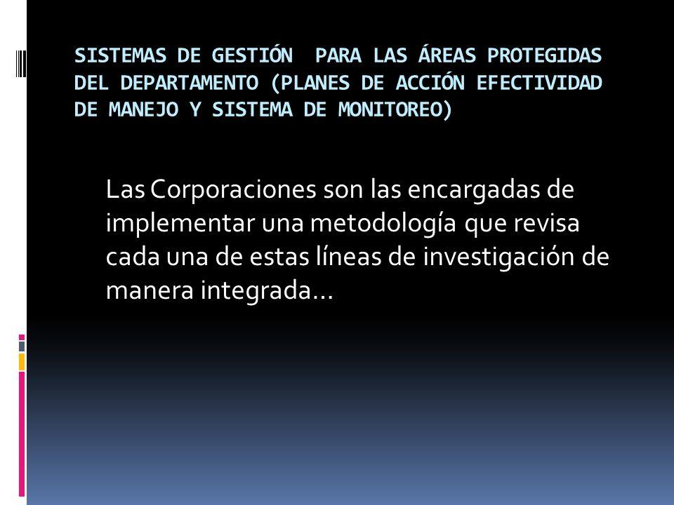 SISTEMAS DE GESTIÓN PARA LAS ÁREAS PROTEGIDAS DEL DEPARTAMENTO (PLANES DE ACCIÓN EFECTIVIDAD DE MANEJO Y SISTEMA DE MONITOREO) Las Corporaciones son l