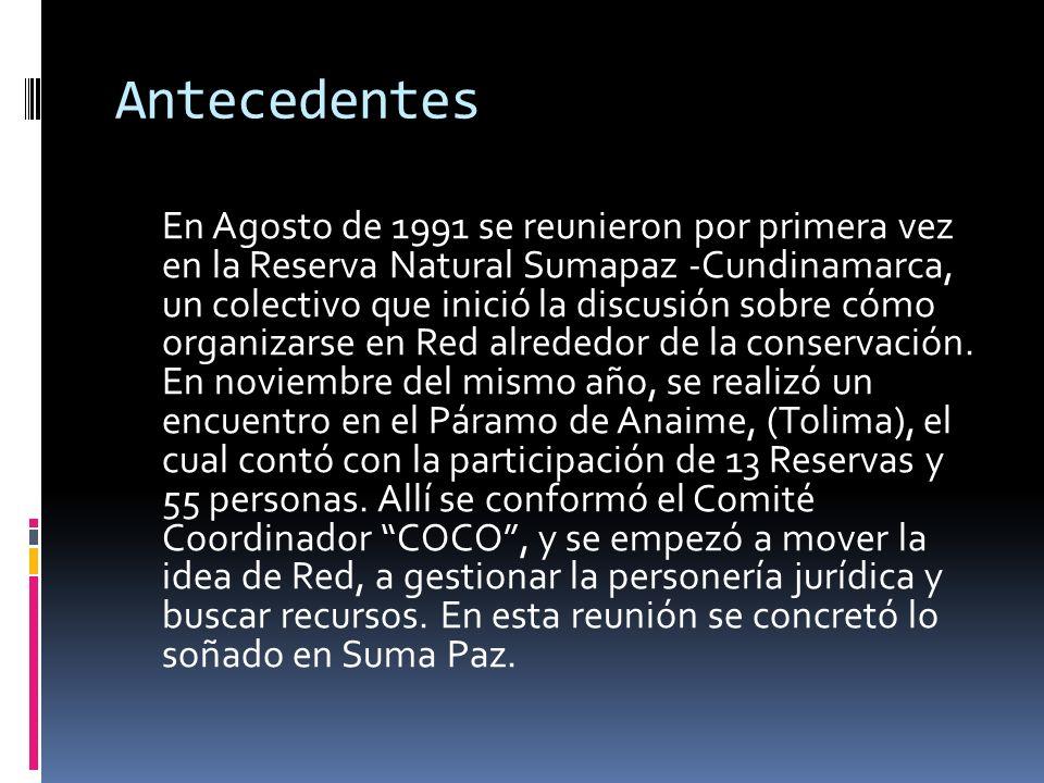 Antecedentes En Agosto de 1991 se reunieron por primera vez en la Reserva Natural Sumapaz -Cundinamarca, un colectivo que inició la discusión sobre có