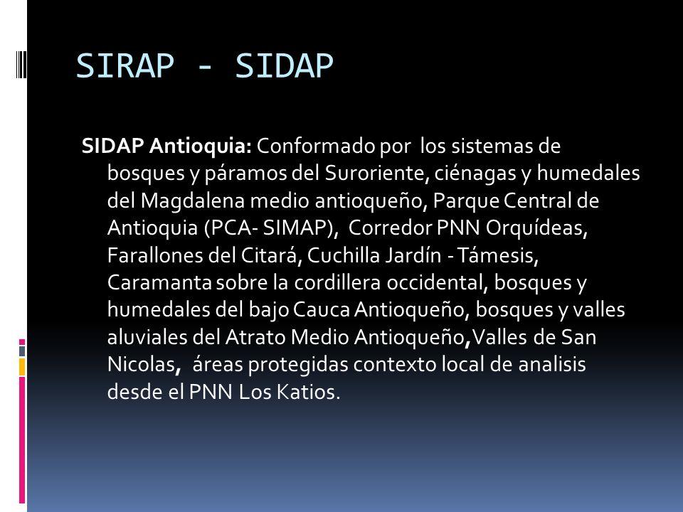 SIRAP - SIDAP SIDAP Antioquia: Conformado por los sistemas de bosques y páramos del Suroriente, ciénagas y humedales del Magdalena medio antioqueño, P