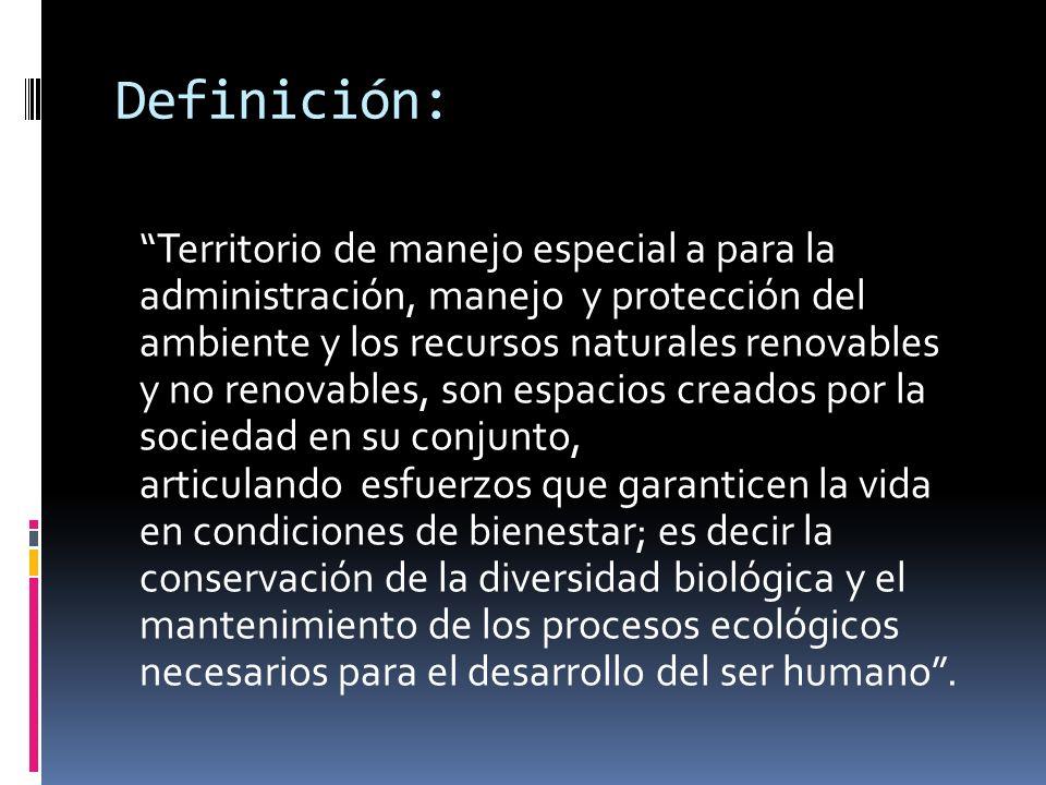 Definición: Territorio de manejo especial a para la administración, manejo y protección del ambiente y los recursos naturales renovables y no renovabl