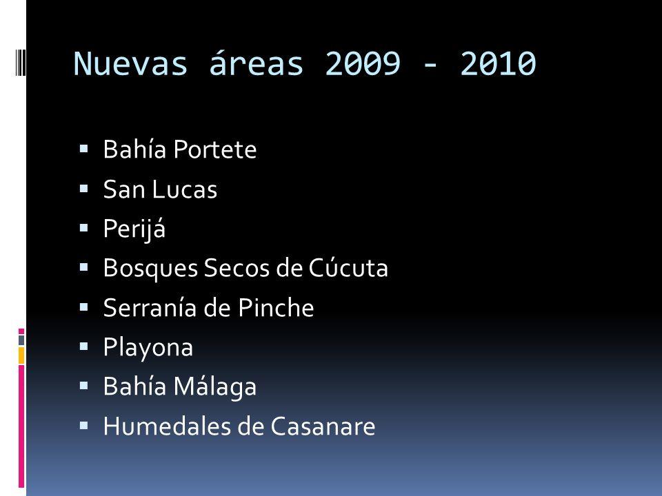 Nuevas áreas 2009 - 2010 Bahía Portete San Lucas Perijá Bosques Secos de Cúcuta Serranía de Pinche Playona Bahía Málaga Humedales de Casanare