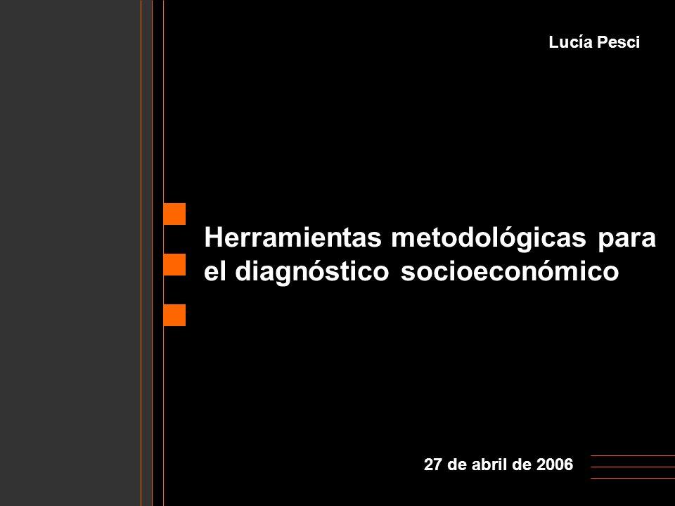 Herramientas metodológicas para el diagnóstico socioeconómico Lucía Pesci 27 de abril de 2006