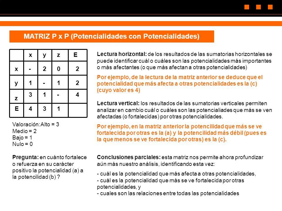MATRIZ P x P (Potencialidades con Potencialidades) z xyzE x y E -202 1-12 31-4 431 Valoración:Alto = 3 Medio = 2 Bajo = 1 Nulo = 0 Pregunta: en cuánto