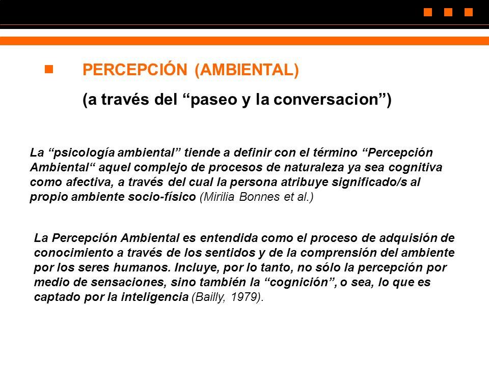 PERCEPCIÓN (AMBIENTAL) (a través del paseo y la conversacion) La psicología ambiental tiende a definir con el término Percepción Ambiental aquel compl