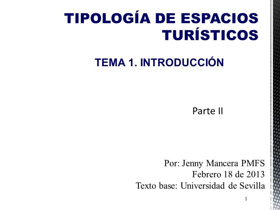 TIPOLOGÍA DE ESPACIOS TURÍSTICOS 1 TEMA 1.