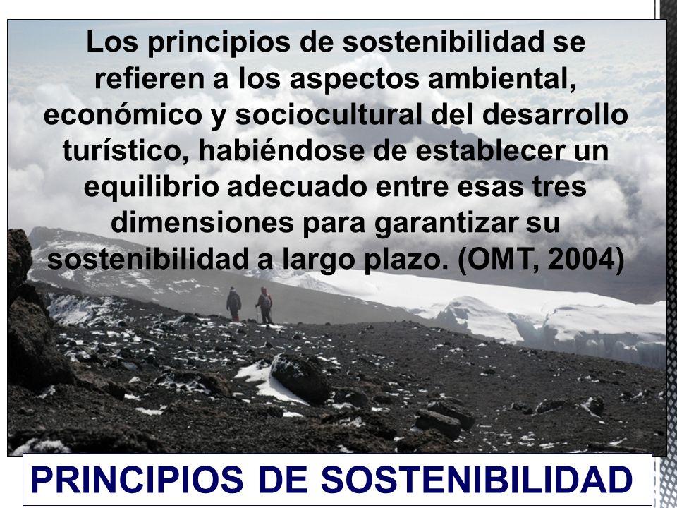 12 Los principios de sostenibilidad se refieren a los aspectos ambiental, económico y sociocultural del desarrollo turístico, habiéndose de establecer un equilibrio adecuado entre esas tres dimensiones para garantizar su sostenibilidad a largo plazo.