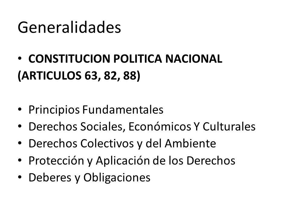 Generalidades CONSTITUCION POLITICA NACIONAL (ARTICULOS 63, 82, 88) Principios Fundamentales Derechos Sociales, Económicos Y Culturales Derechos Colec