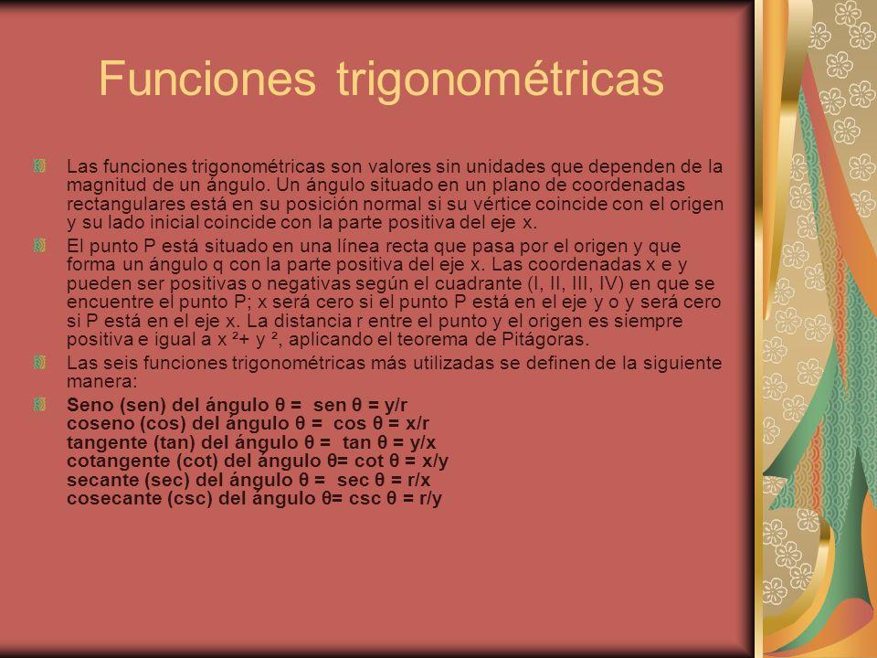 Funciones trigonométricas Las funciones trigonométricas son valores sin unidades que dependen de la magnitud de un ángulo. Un ángulo situado en un pla