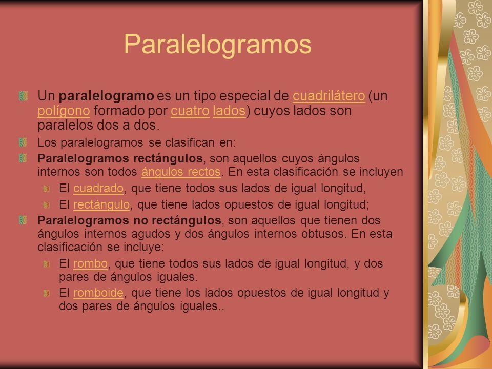 Paralelogramos Un paralelogramo es un tipo especial de cuadrilátero (un polígono formado por cuatro lados) cuyos lados son paralelos dos a dos.cuadril