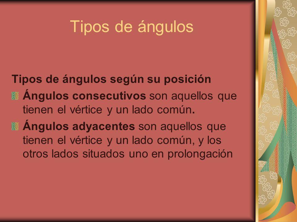 Tipos de ángulos Tipos de ángulos según su posición Ángulos consecutivos son aquellos que tienen el vértice y un lado común. Ángulos adyacentes son aq