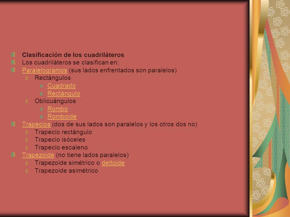 Clasificación de los cuadriláteros Los cuadriláteros se clasifican en: ParalelogramosParalelogramos (sus lados enfrentados son paralelos) Rectángulos