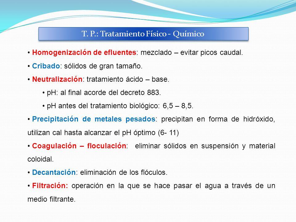 T. P.: Tratamiento Físico - Químico Homogenización de efluentes: mezclado – evitar picos caudal. Cribado: sólidos de gran tamaño. Neutralización: trat