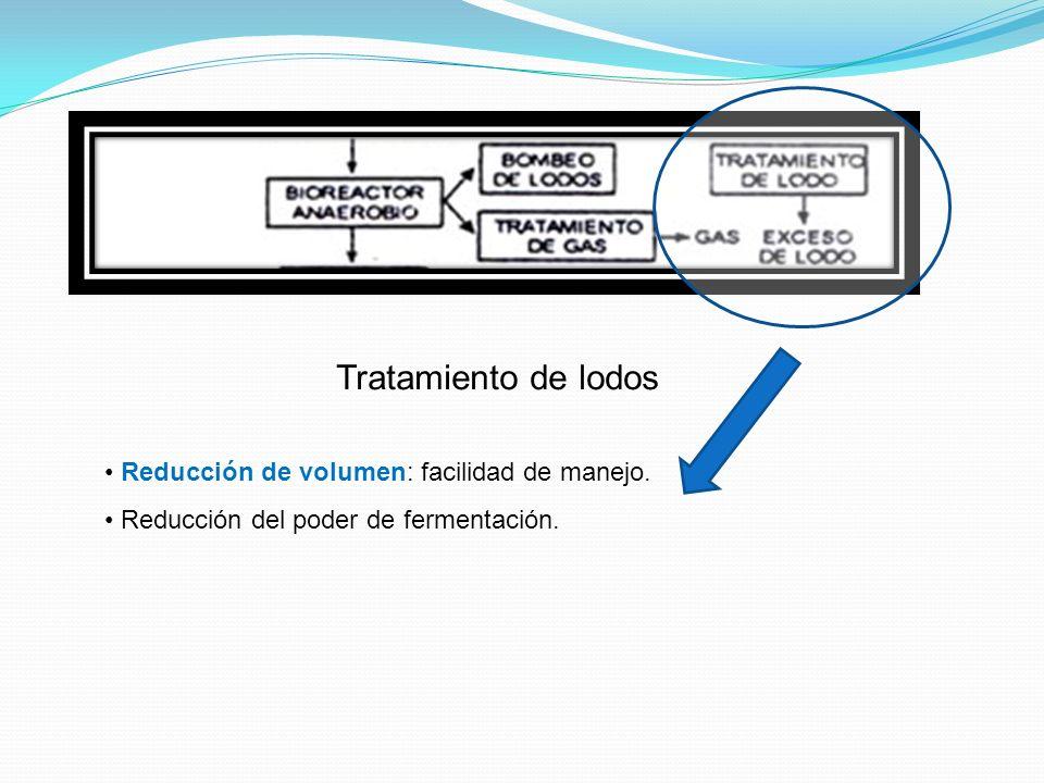Tratamiento de lodos Reducción de volumen: facilidad de manejo. Reducción del poder de fermentación.