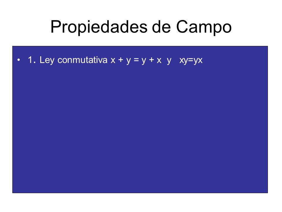 Propiedades de Campo 1. Ley conmutativa x + y = y + x y xy=yx