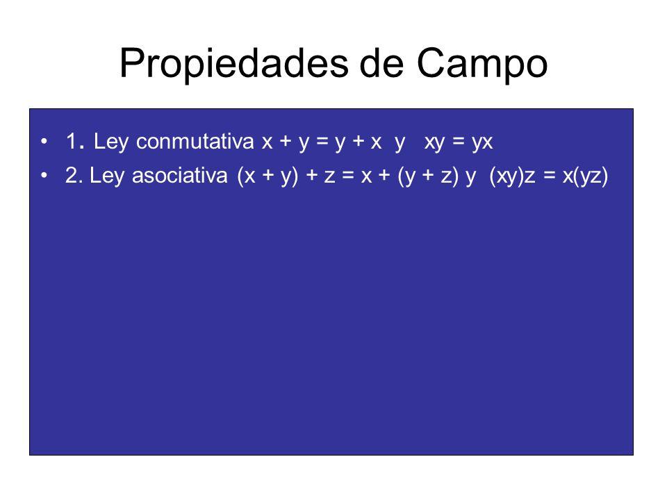 Propiedades de Campo 1. Ley conmutativa x + y = y + x y xy = yx 2. Ley asociativa (x + y) + z = x + (y + z) y (xy)z = x(yz)