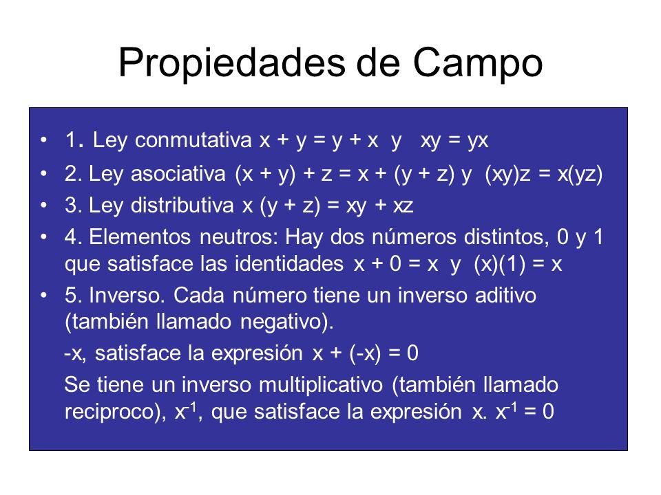 Propiedades de Campo 1. Ley conmutativa x + y = y + x y xy = yx 2. Ley asociativa (x + y) + z = x + (y + z) y (xy)z = x(yz) 3. Ley distributiva x (y +