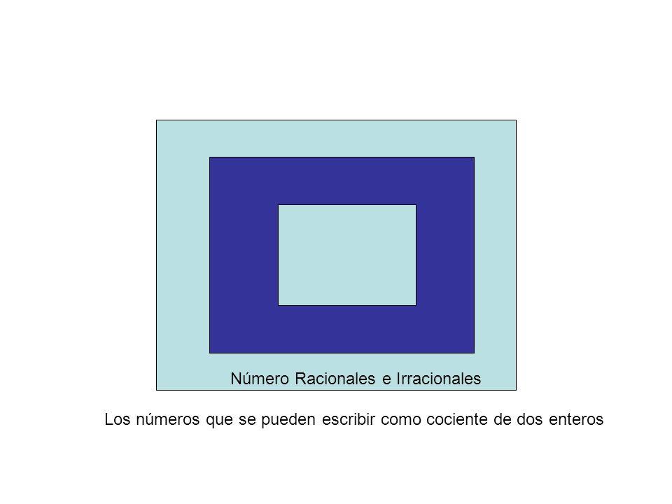 Número Racionales e Irracionales Los números que se pueden escribir como cociente de dos enteros