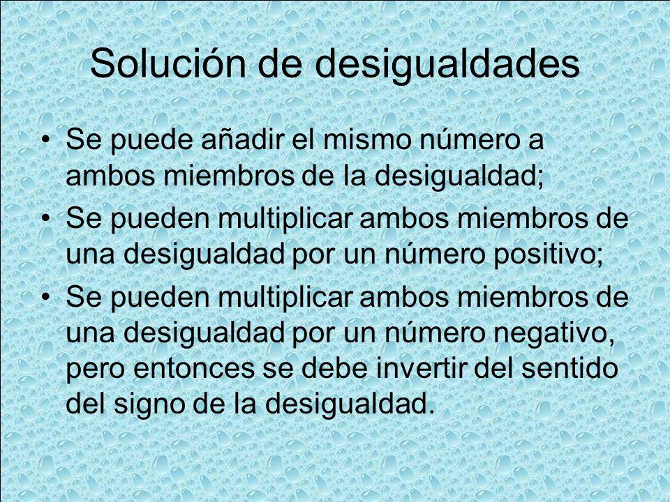 Solución de desigualdades Se puede añadir el mismo número a ambos miembros de la desigualdad; Se pueden multiplicar ambos miembros de una desigualdad