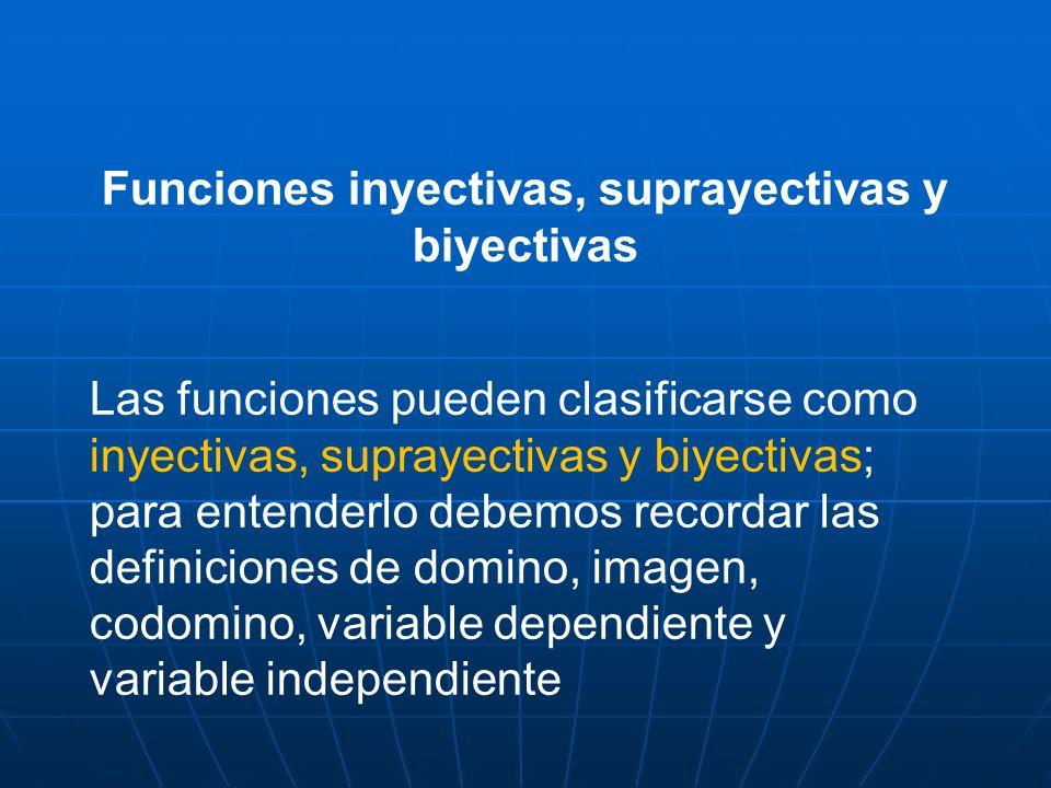 Funciones inyectivas, suprayectivas y biyectivas Las funciones pueden clasificarse como inyectivas, suprayectivas y biyectivas; para entenderlo debemo