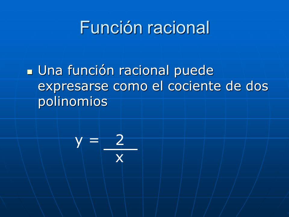 Función racional Una función racional puede expresarse como el cociente de dos polinomios Una función racional puede expresarse como el cociente de do