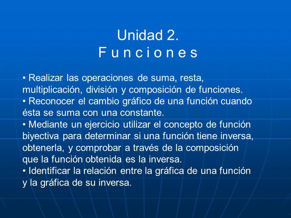 Unidad 2. F u n c i o n e s Realizar las operaciones de suma, resta, multiplicación, división y composición de funciones. Reconocer el cambio gráfico