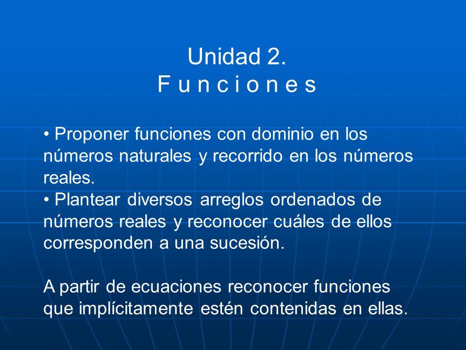 Unidad 2. F u n c i o n e s Proponer funciones con dominio en los números naturales y recorrido en los números reales. Plantear diversos arreglos orde