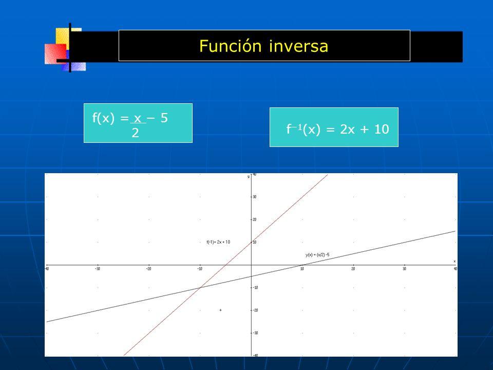 f(x) = x 5 2 f 1 (x) = 2x + 10 Función inversa