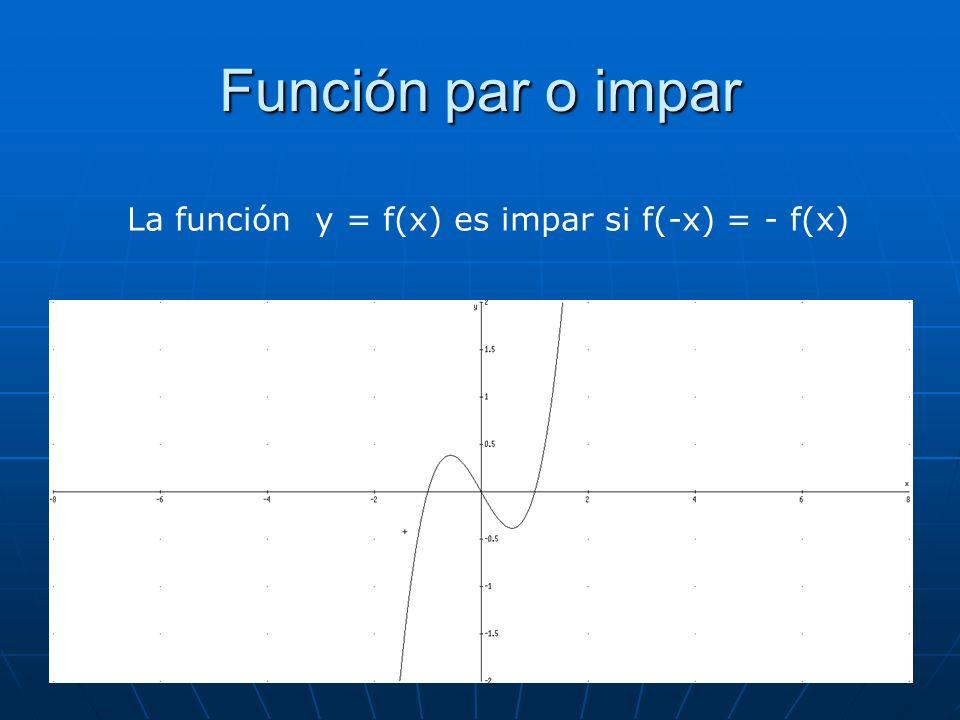Función par o impar La función y = f(x) es impar si f(-x) = - f(x)