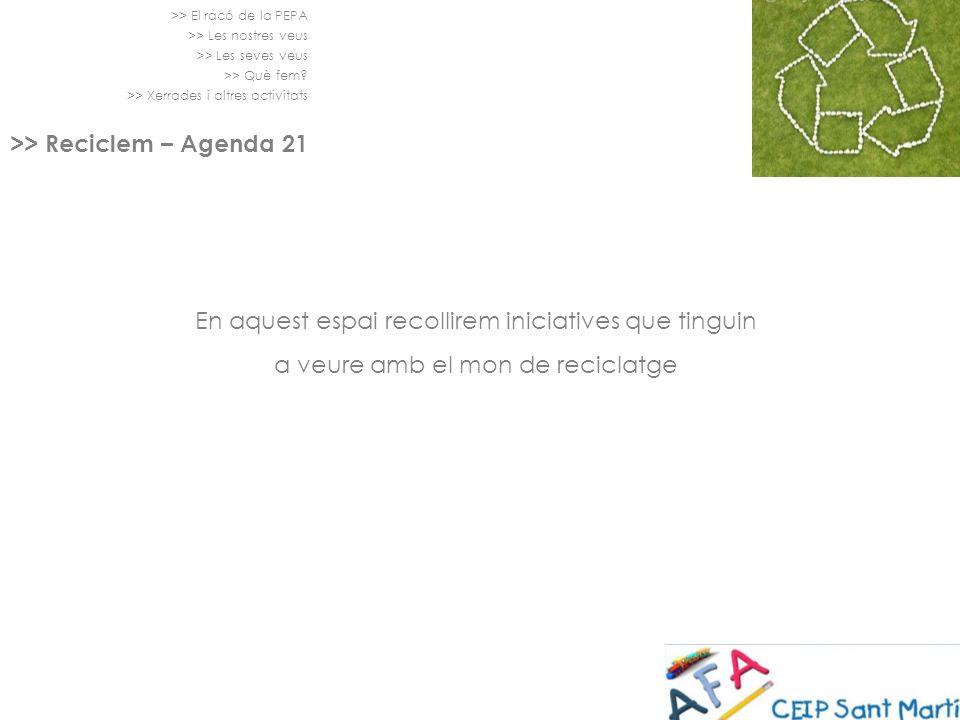 >> El racó de la PEPA >> Les nostres veus >> Les seves veus >> Què fem? >> Xerrades i altres activitats >> Reciclem – Agenda 21 En aquest espai recoll